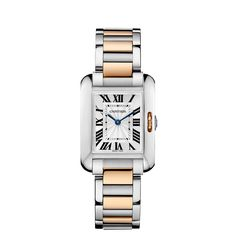 Tank Anglaise watch, small model - Quartz, pink gold and steel - Fine Timepieces for women - Cartier #PurelyInspiration