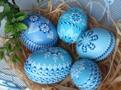Set of 5 Easter Eggs in Blue, Decorated Chicken Eggs, Wax-Embossed Polish Pysanky, Kraslice