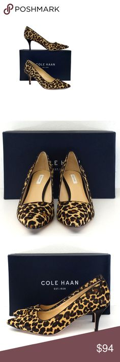 "Cole Haan- Bradshaw Leopard Print Pony Hair Pumps Sz 7.5 Size 7.5 B Bradshaw Leopard Print Pumps Retails for $268 Leather soles Very light wear on outsoles Pony hair upper Comes w/original box Heel Height 3"" Cole Haan is a long-time American fashion label first known for men's wear. Today it offers many products, including men's and women's dress and casual footwear, belts, hosiery, handbags, gloves, scarves, hats, outerwear, and sunglasses. Cole Haan Shoes Heels"