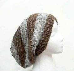 Knit slouchy beanie hat  brown and gray textured by CaboDesigns