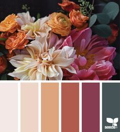 Plum, ivory, gray, coral (plus indigo, greens, black?)