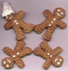 knitted gingerbread men pattern; for next Christmas *lots of knitting machine patterns on this site*