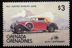Austro-Daimler de 1932 ADR8 de coches de época-hecho a mano con marco estampilla arte 17697