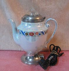 Art Deco Royal Rochester Fraunfelter Porcelain Iridescent Coffee Pot Percolator #RoyalRochester