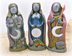 Set of 3 statues Maiden Mother Crone Pagan wiccan altar , home decor, wicca by louisa