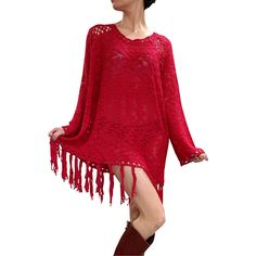 BOHO-CHIC!THIS PULLOVER, CROCHET SWEATER IS A LONG SWEATER IF YOU WEAR IT WITH JEANS -- OR A SWEATER DRESS!CROCHET WITH FRINGE TASSELS.EVERY EYE WILL BE ON YOU!ONE-SIZE ITEM FITS UP TO SIZE 18.Crimson. Red.
