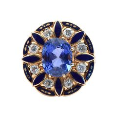 1930s Blue Enamel Natural Sapphire Gold Ring | From a unique collection of vintage cocktail rings at https://www.1stdibs.com/jewelry/rings/cocktail-rings/