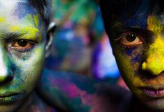 """""""Two friends during the Holi festival of Hindu communities in Dhaka, Bangladesh. Holi is one of the most colorful festivals of the world.""""    Smithsonian.com Photo of the Day: August 27, 2012. Photo by Mohammad Moniruzzaman."""