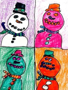 Artsonia Art Museum :: Artwork by Elizabeth3964; Warhol snowmen, grade 2