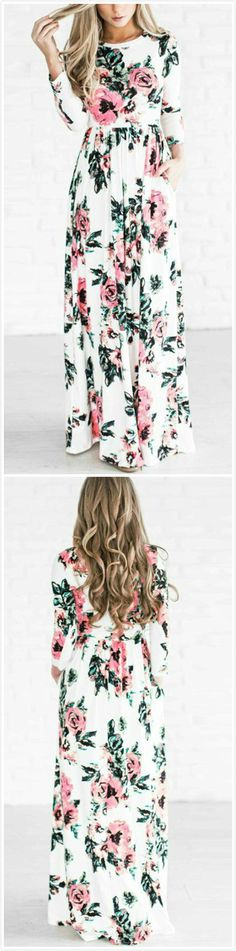 This dress is sooooo good! First, I love florals! I also really love the length and that it's a long sleeve!