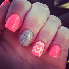 Neon coral nails chevron glitter