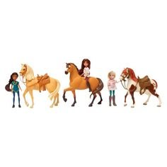 "Relive the adventures of Lucky, Spirit and all their friends from the new DreamWorks Animation Television series, Spirit Riding Free! This Doll and Horse set is the perfect way to start your Spirit collection. Each doll stands 5"" tall and features poseable arms and legs that allow them to be moved into fun action poses! The dolls can also ride their horse companions. Both dolls and horses are the perfect size for little hands and great for imaginative frontier adventures! Look for the Sp..."