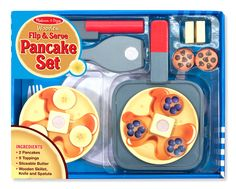 Who's ready for breakfast? With this wooden set, a young chef can prepare two golden-brown pancakes with all the fixings: chocolate chips, blueberries, bananas, and pats of butter. Plus the skillet, knife, spatula, and removable place setting mean hours of pretend-play fun.