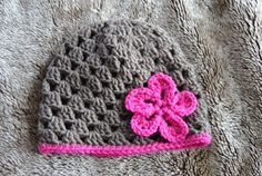 brown and pink granny stitch beanie hat