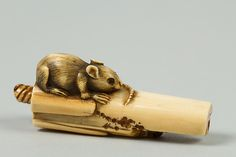 Netsuke of Mouse on Bamboo | Japan | The Met