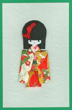 handmade card ... Japanese Paper Doll Card by contrarymary, via Flickr ...luv the sweet face ...