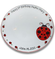 LadyBug Baby First Birthday Signature Platter by SerendipityCrafts, $70.00
