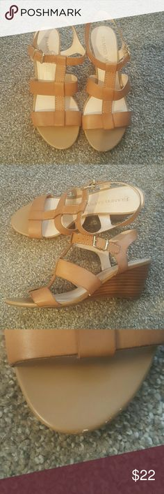 Franco Sarto Gladiator Wedges Sandals Worn maybe once or twice. Slight scuff at toe that is not noticeable when worn. Franco Sarto Shoes