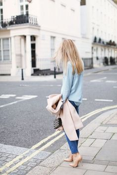 Street Style - mixed denim - monstylepin #fashion #style #streetstyle #outfit #trend #denim #skinnyjeans #denimshirt #camelcoat #nudepumps