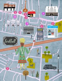Martin Haake - Map of Southall, London -  for a German book on Indian Restaurants