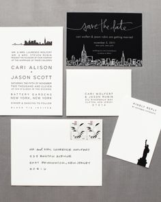 Black and white NYC themed invitations