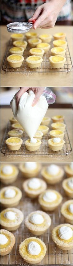 "A pinner says""Sugar Cookie Lemon Tarts.something like a bite size lemon meringue pie. I used a clean bottle cap instead of my thumb to press the dough into the mini-muffin pans. Lemon Desserts, Lemon Recipes, Mini Desserts, Just Desserts, Sweet Recipes, Delicious Desserts, Yummy Food, Plated Desserts, Lemon Curd Recipe"