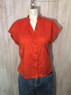 Le chouchou de ma boutique https://www.etsy.com/ca-fr/listing/588967349/chemisier-vintage-haut-retro-orange