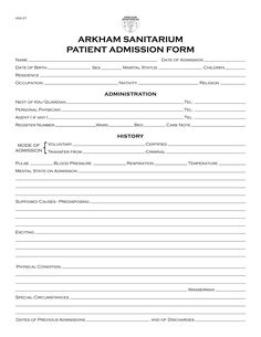 Another prop document from the Arkham Sanitarium Project, this is a basic admission form covering the patient's personal information, admini...