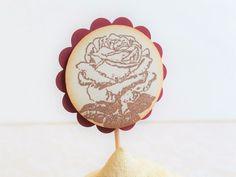 12 Cupcake Toppers Wedding Baby Shower Burgundy Dessert Bar Rose Plant Pick     eBay