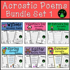 Are you looking for a fun activity to practice poetry? This Bundle includes 6 Acrostic Poem products. The poems included in them are the perfect activity for students to practice their poetry skills and have fun writing about different themes. These poetry worksheets are great for independent work, interactive notebooks, group work, literacy stations, fast finishers, and partner work. #tpt #teacherspayteachers #poetry #language #writing