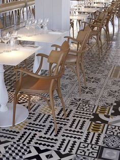 Cement tile floors.