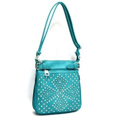 Blue Rhinestone Studded Messenger Handbag Crossbody Bag Western Teal Crystal  #SsFashion #MessengerCrossBody