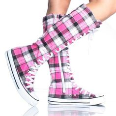 Pink Plaid Converse Boots... I'm probably too old to pull these off...but i kinda dont care, these are adorable!!!