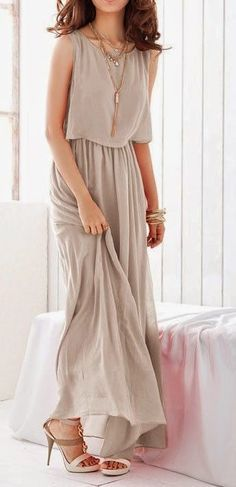 Light Grey Pleated Sleeveless Wrap Bohemian Chiffon Dress - this would look  incredible with a classy black blazer and long necklace 820c732fa44e