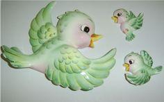 wall pocket green birds