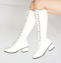 White Patent Lace Up Knee High Combat Boots....Oh yes!