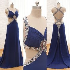 2017 Custom Charming Prom Dress,Chiffon Prom Dress,Beading Prom Dress,Backless Prom Dress,V-Neck Evening Dress