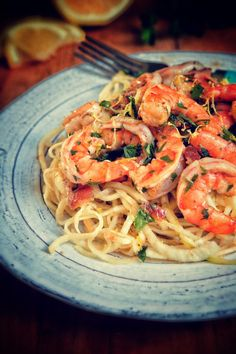 Paleo Browned-Butter Bacon Shrimp Scampi with Spiralized Noodles. - Real Sustenance