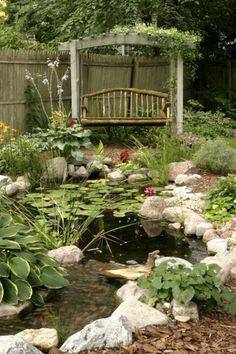 27 idéés pour le bassin de jardin préformé , hors sol + - bassin--de-jardin-préformé-avec-des-pierres-banc-vitange-style