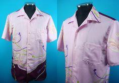 Kimono Hawaiian shirt, pink, crane, Men, US size L by PriscillaTokyo on Etsy