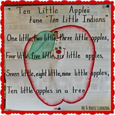 Ten Little Apples Song Change to pumpkins! Preschool Apple Activities, Preschool Apple Theme, Fall Preschool, Preschool Songs, Preschool Curriculum, Teaching Activities, Preschool Classroom, Kids Songs, Kindergarten Fun