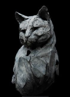 Cat sculpture by Erwin Peeters (Belgian, b. Pottery Animals, Ceramic Animals, Clay Animals, Ceramic Art, Horse Sculpture, Sculpture Clay, Clay Cats, Sculptures Céramiques, Oeuvre D'art