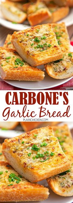 Carbone's Garlic Bread - recipe for the garlic bread from the famous NYC and Vegas restaurant. BEST garlic bread ever! Crispy, cheesy and a little spicy! You can make this ahead of time and refrigerate it until you are ready to bake the bread. Bread Machine Recipes, Bread Recipes, Cooking Recipes, Recipe For Garlic Bread, Cheesy Recipes, Garlic Butter, Dip Recipes, Recipies, Naan