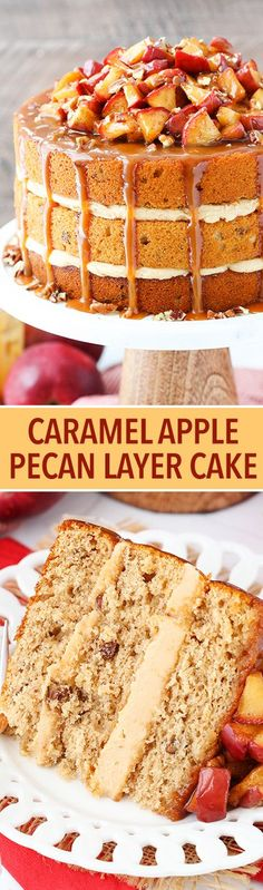 Caramel Apple Pecan Layer Cake with Homemade Caramel Sauce! - Caramel Apple Pecan Layer Cake – layers of spiced apple cake with pecans, caramel frosting, cinnamon apples and a caramel drizzle! Fall in a cake! Fall Desserts, Just Desserts, Delicious Desserts, Thanksgiving Desserts, Desserts Caramel, Apple Recipes, Baking Recipes, Sweet Recipes, Easy Recipes