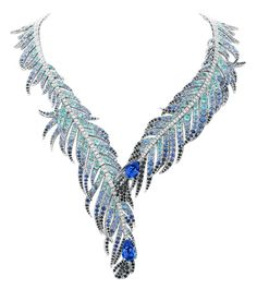 """Van Cleef and Arpels """"Plumes de Martin-Pêcheur"""" necklace, diamonds, sapphires, black spinels, tourmalines and two pear-shaped sapphires set in 18K white gold, price upon request, vancleef-arpels.com.   - HarpersBAZAAR.com"""