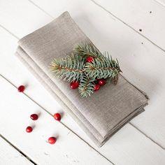 Linen napkins set of 6 - Christmas napkin cloths - Organic napkins - Winter wedding napkins - Thanksgiving table decor by LinenHomeShop