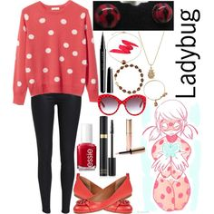 Ladybug: Miraculous Ladybug by ender-chic52 on Polyvore featuring Equipment, Tory Burch, Sydney Evan, Kevin Jewelers, Bling Jewelry, Alex and Ani, Dolce&Gabbana, Tom Ford, Marc Jacobs and By Terry