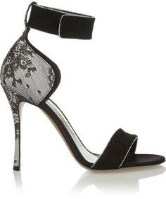 Nicholas Kirkwood Suede, lace and satin sandals on shopstyle.com