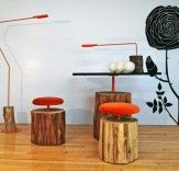 Log furniture for palm tree trunk