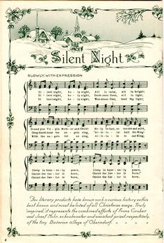 Make your holiday decorating and gift giving easy with these free printable vintage Christmas sheet music pages! Just print and frame for easy decor and gifts. Christmas Carol, Vintage Christmas, Christmas Crafts, Christmas Mantles, Victorian Christmas, Christmas Christmas, Christmas Ornaments, Silent Night Sheet Music, Silent Night Holy Night